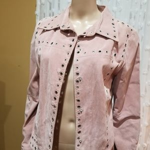 Vintage rose blush pink suede jacket sz L festival
